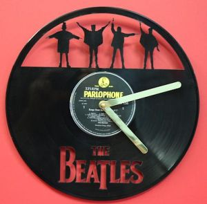 RECORD BEATLES-LP-VINYL-RECORD-CLOCK-CUSTOM-LASER-CUT-HELP-PLAYS-THE-SONG-HELP-181078175996